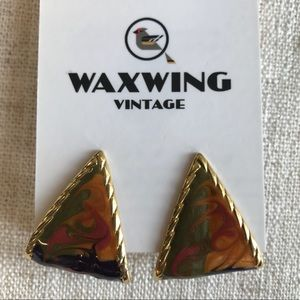 Vintage enamel hanging teardrop earrings